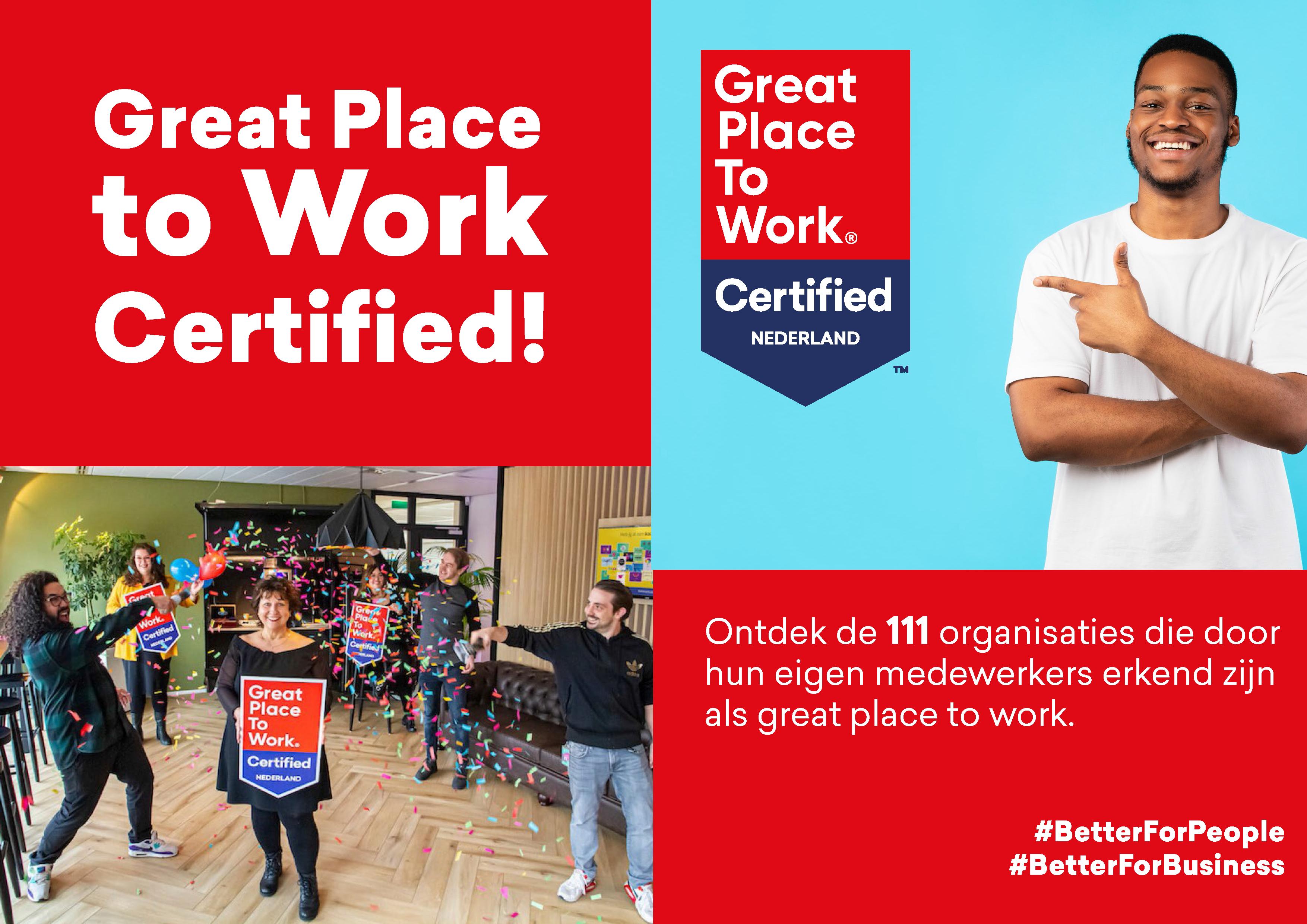 Dit zijn de 111 Great Place to Work Certified organisaties!